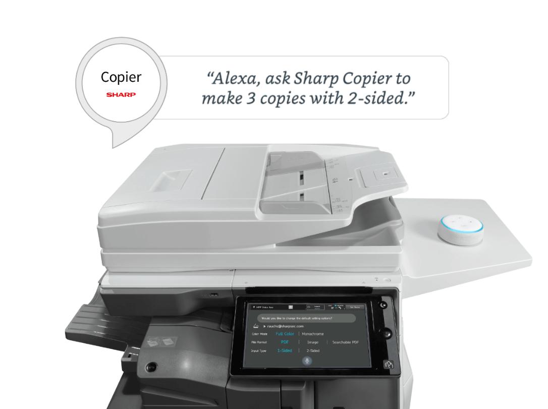 ارسال دستور چاپ از طریق الکسا ویژگی دستگاه فتوکپی شارپ