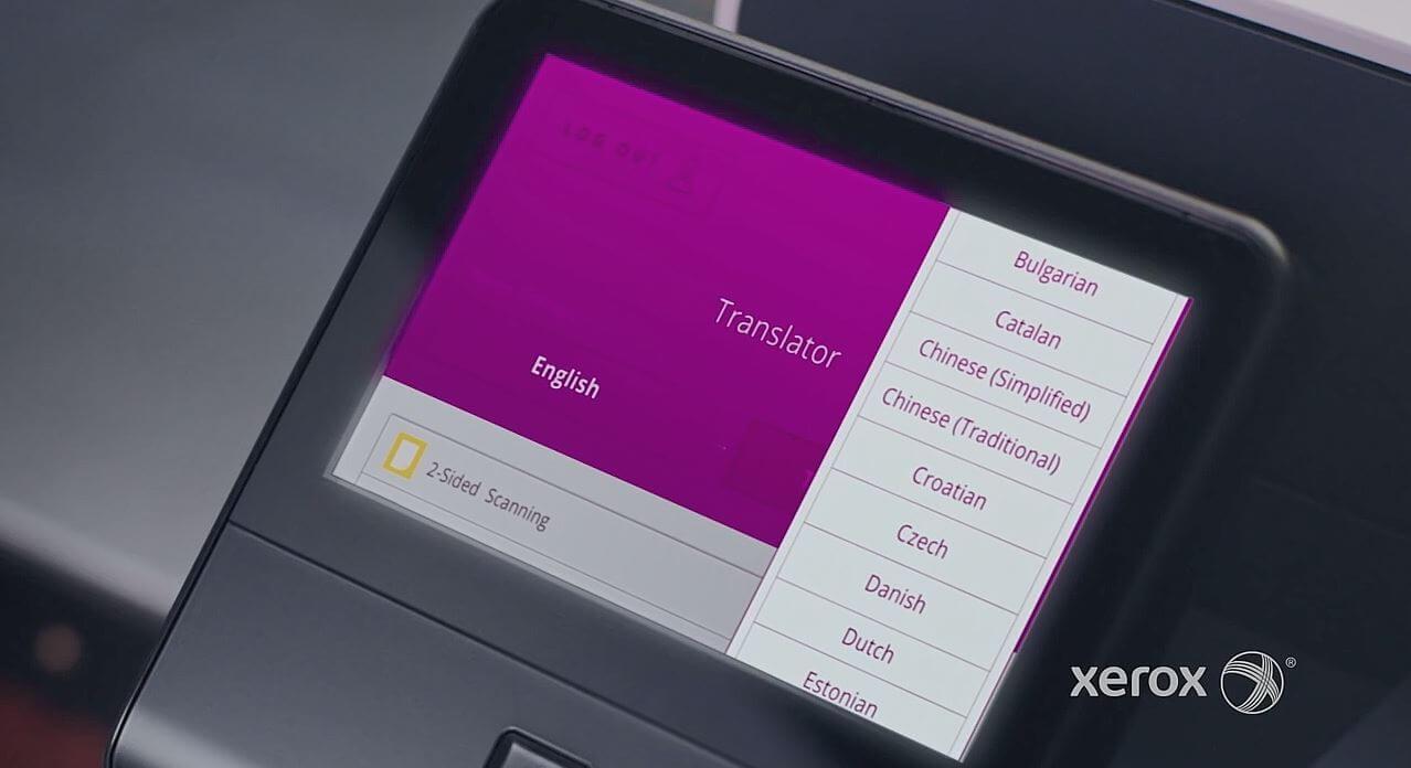 انتخاب زبان مقصد برای ترجمه سند اسکن شده در دستگاه کپی زیراکس