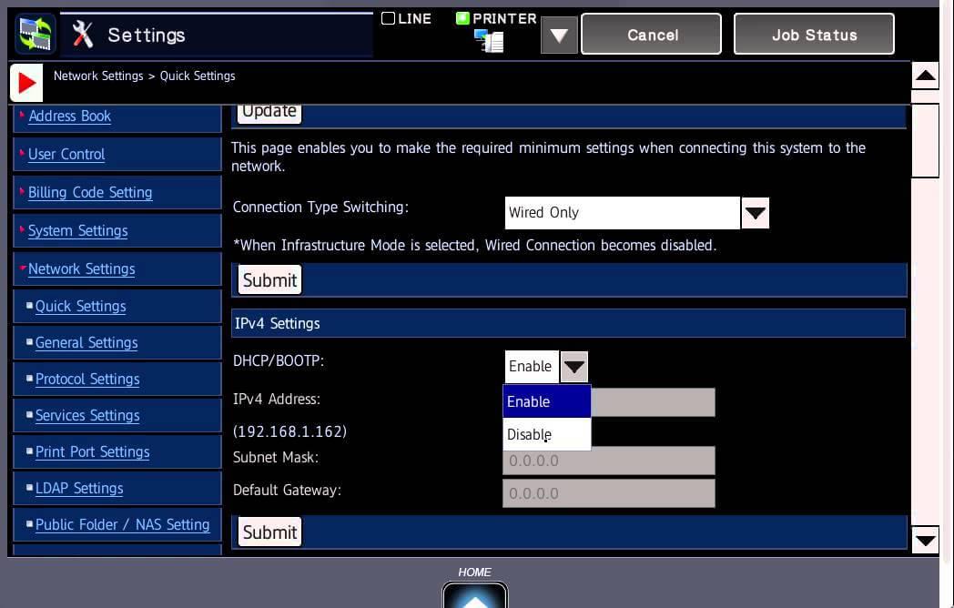 تنظیمات شبکه دستگاه کپی شارپ