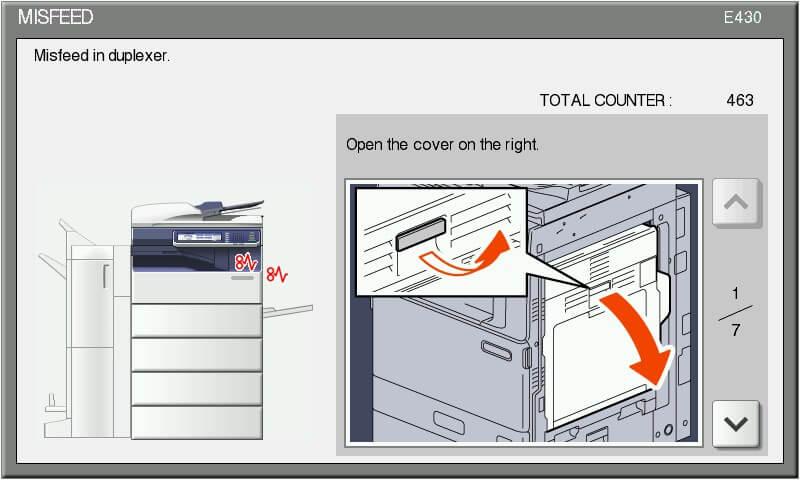 تعمیر دستگاه فتوکپی توشیبا :M i s feed in d u p l ex er کاغذ در دوپلکس ( واحد کپی دو رو ) گیر کرده است