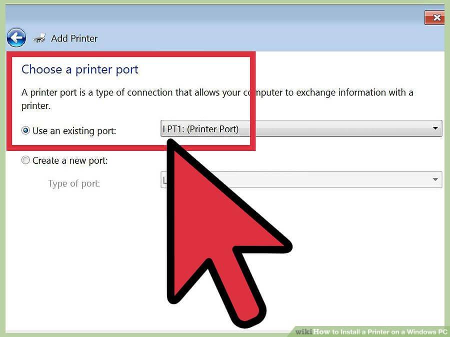 سپس، یک پنجره باز می شود تا بپرسد آیا می خواهید از پورت موجود استفاده کنید یا یک آیتم جدید ایجاد می کنید